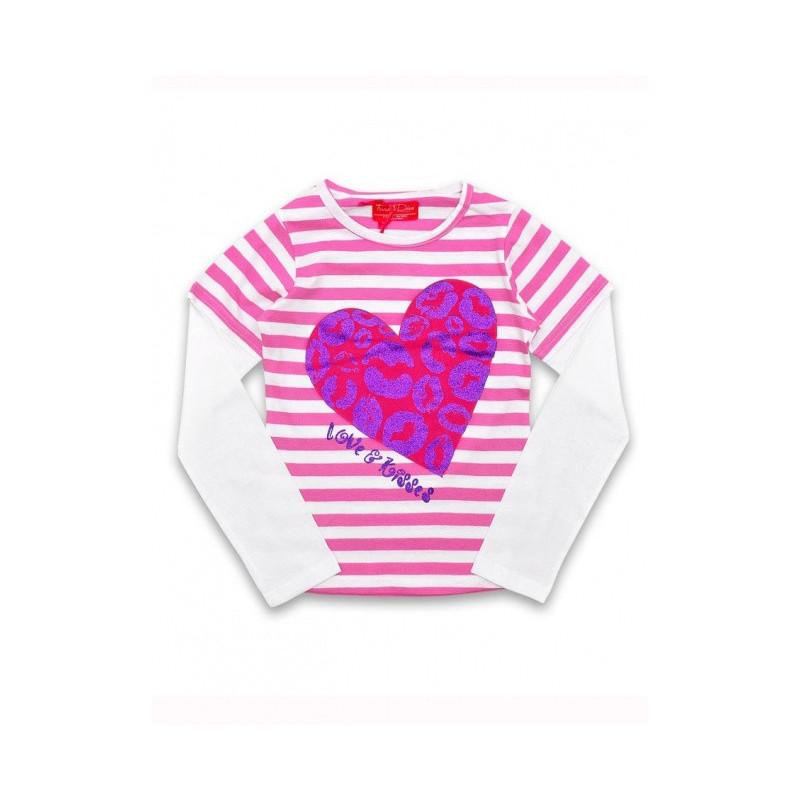 Pruhované triko Heart Pink