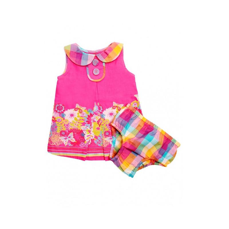 Růžové šatičky + kalhotky