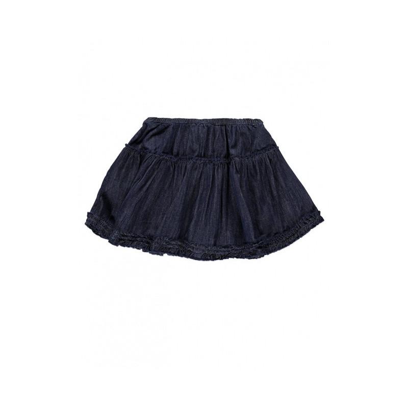 Riflová sukně s volánky